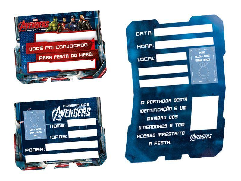 Convite de Aniversário Os Vingadores - A Era de Ultron c/ 8 unid