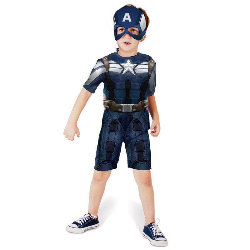 Fantasia Capitão América Curto - Infantil
