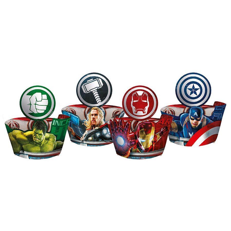 Porta Cupcake Wrapper com Enfeite Os Vingadores - A Era de Ultron - c/ 12 unid.
