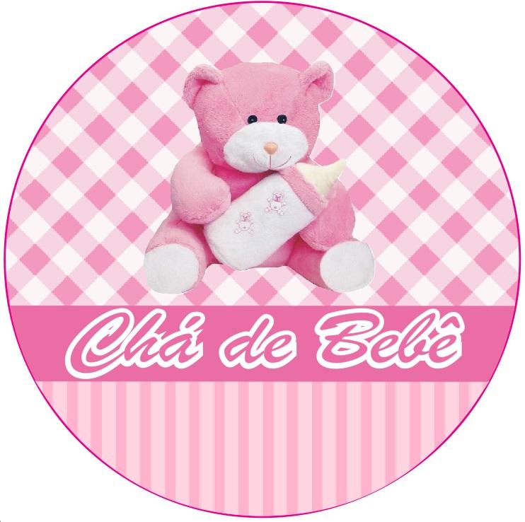 Adesivo p/ Lembrancinha - Redondo - Chá de Bebê - Rosa c/ 20 unid