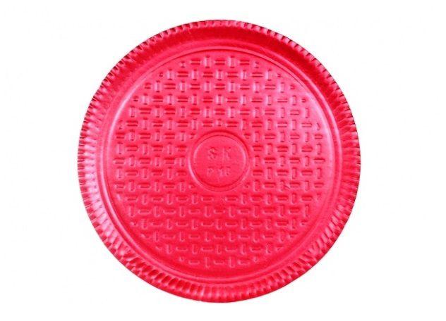 Prato Tabuleiro de Papelão - Laminado - Liso - N 6 - Vermelho