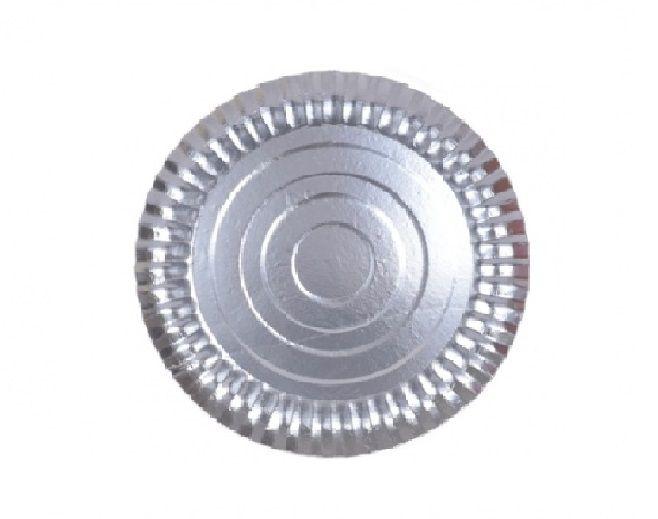 Prato Tabuleiro de Papelão - Laminado - Liso - N 7 - Prata