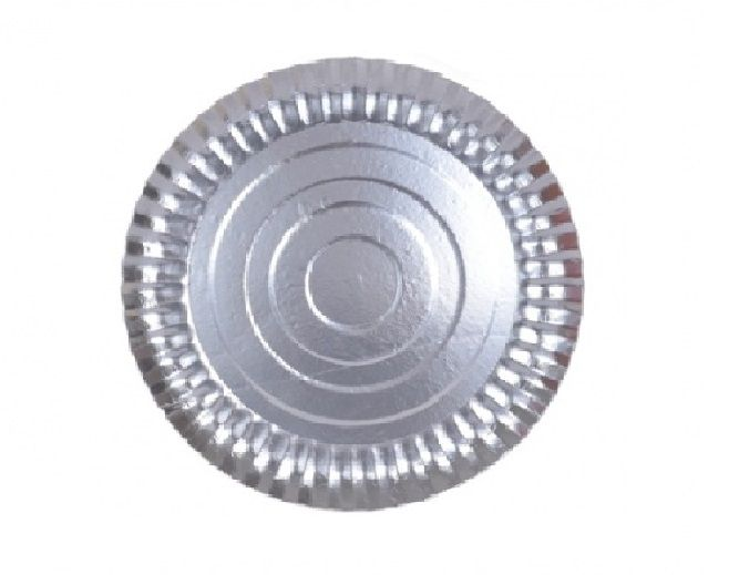 Prato Tabuleiro de Papelão - Laminado - Liso - N 8 - Prata