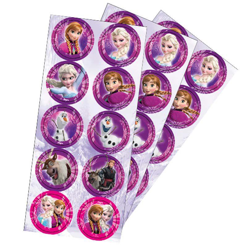 Adesivo Redondo Frozen - 30 unidades