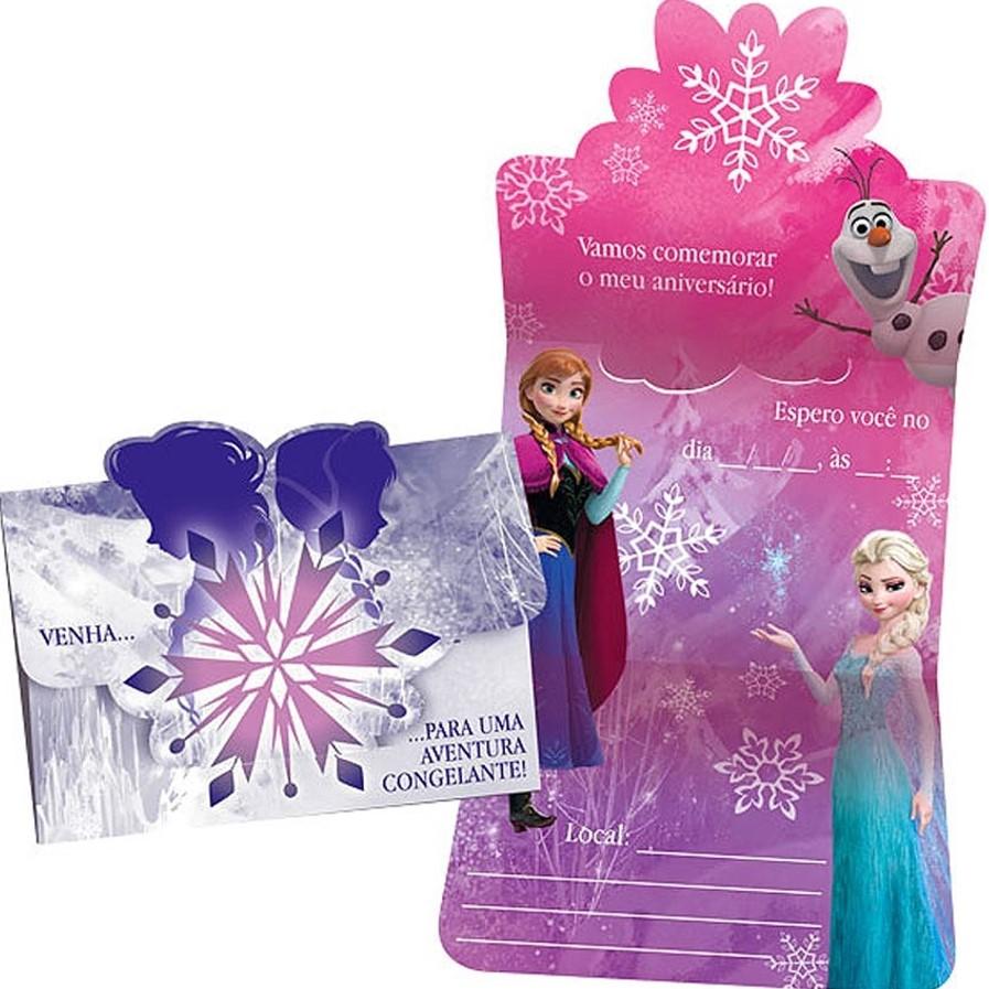 Convite de Aniversário Frozen Pequeno Uma Aventura Congelante c/ 8 unid.