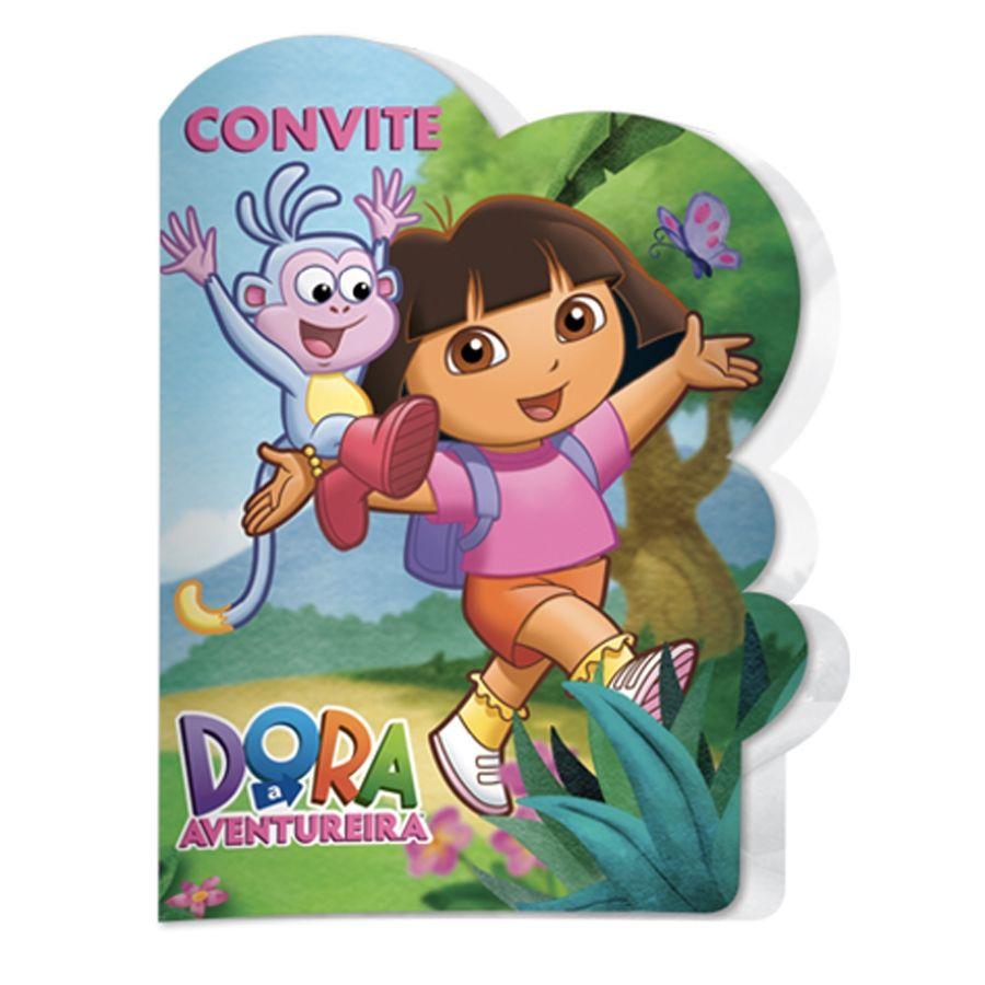 Convite de Aniversário Dora Aventureira c/ 8 unid.