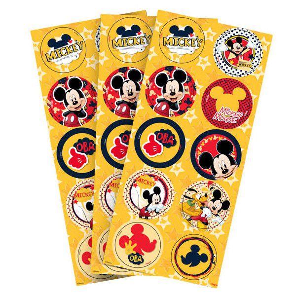 Adesivo Redondo Mickey - 30 unidades