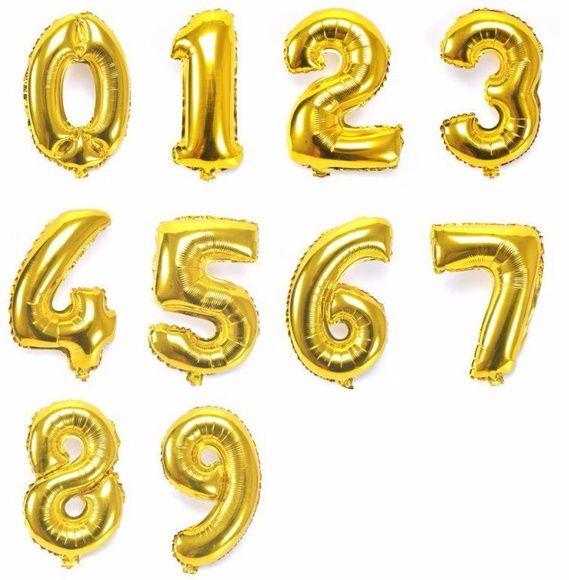 Balão de Número Metalizado Dourado Gigante