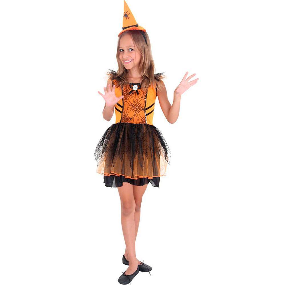 Fantasia Bruxa Laranja Aranha - Infantil
