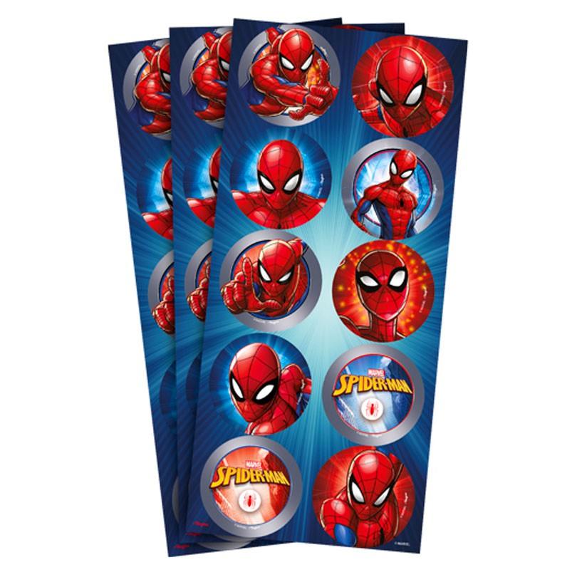 Adesivo Redondo Homem Aranha - 30 unidades