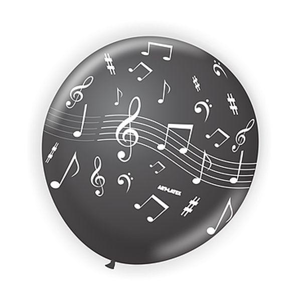 Balão Notas Musicais Preto N9