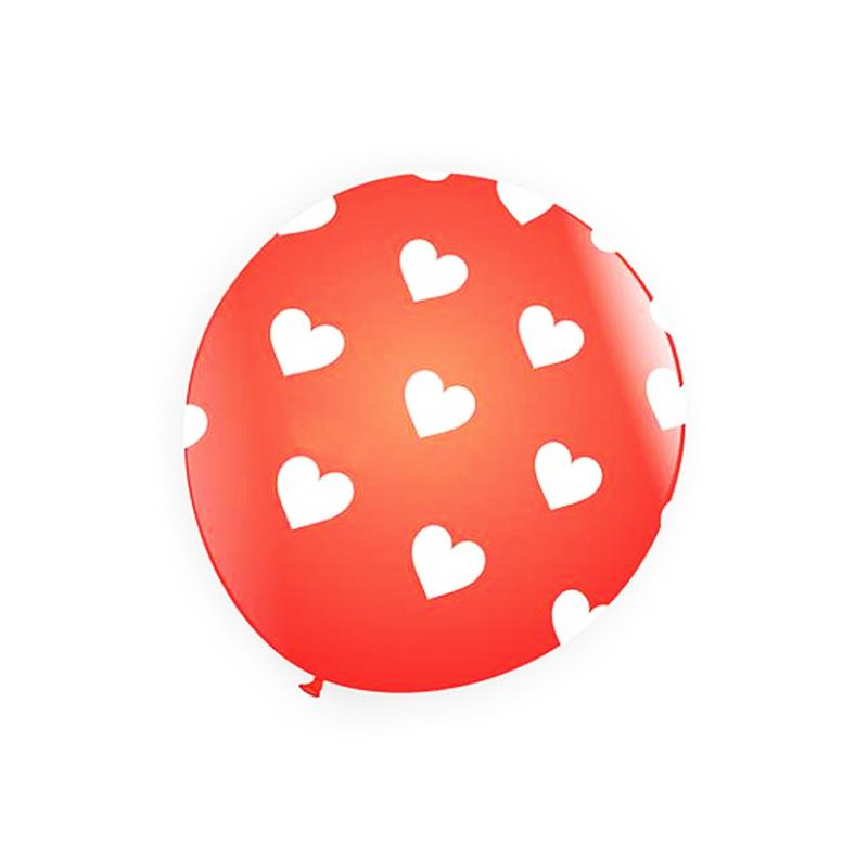 Balão Coração Nº9  Vermelho com Branco