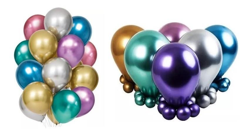 Balão Cromado Alumínio Sortido - 25 Unidades