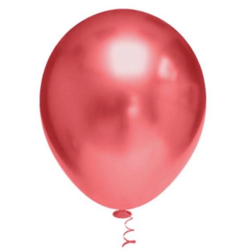 Balão Cromado Alumínio Vermelho - 9 Polegadas - 25 Unidades