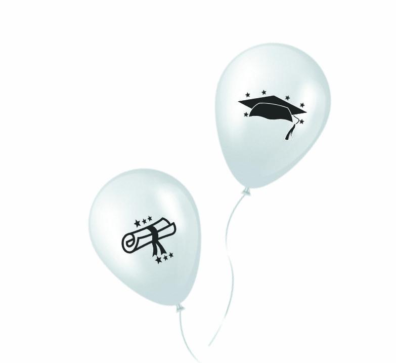 Balão Formatura Branco/Preto