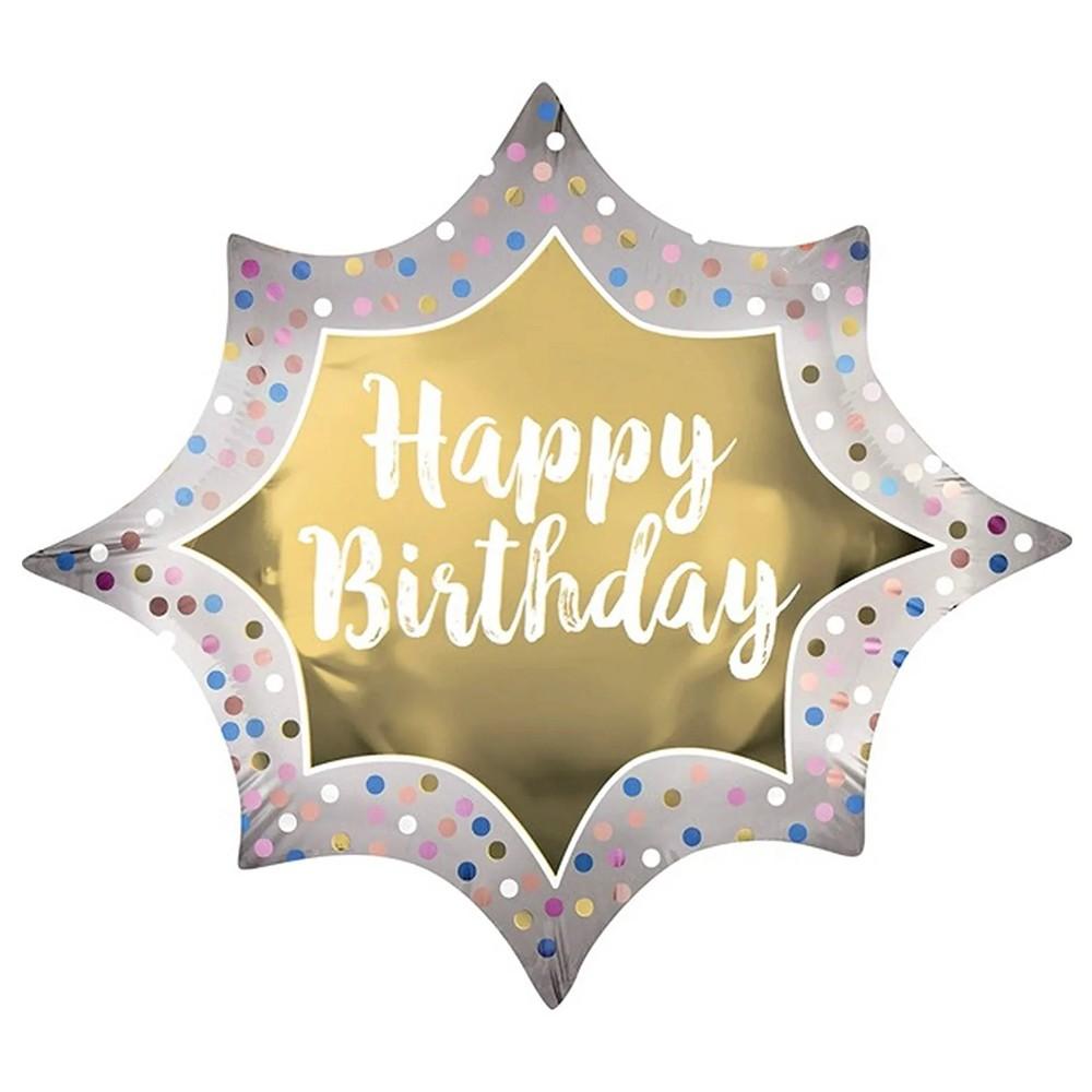 Balão Metalizado Happy Birthday SuperShape - 88cm