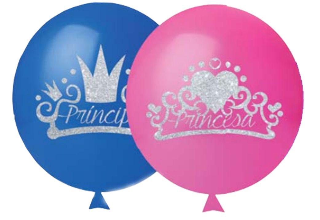 Balão Reinado com Glitter com 12 unidades