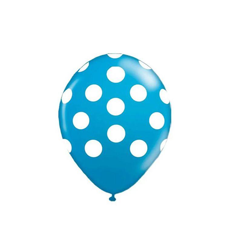Balão Poá Azul Com Branco