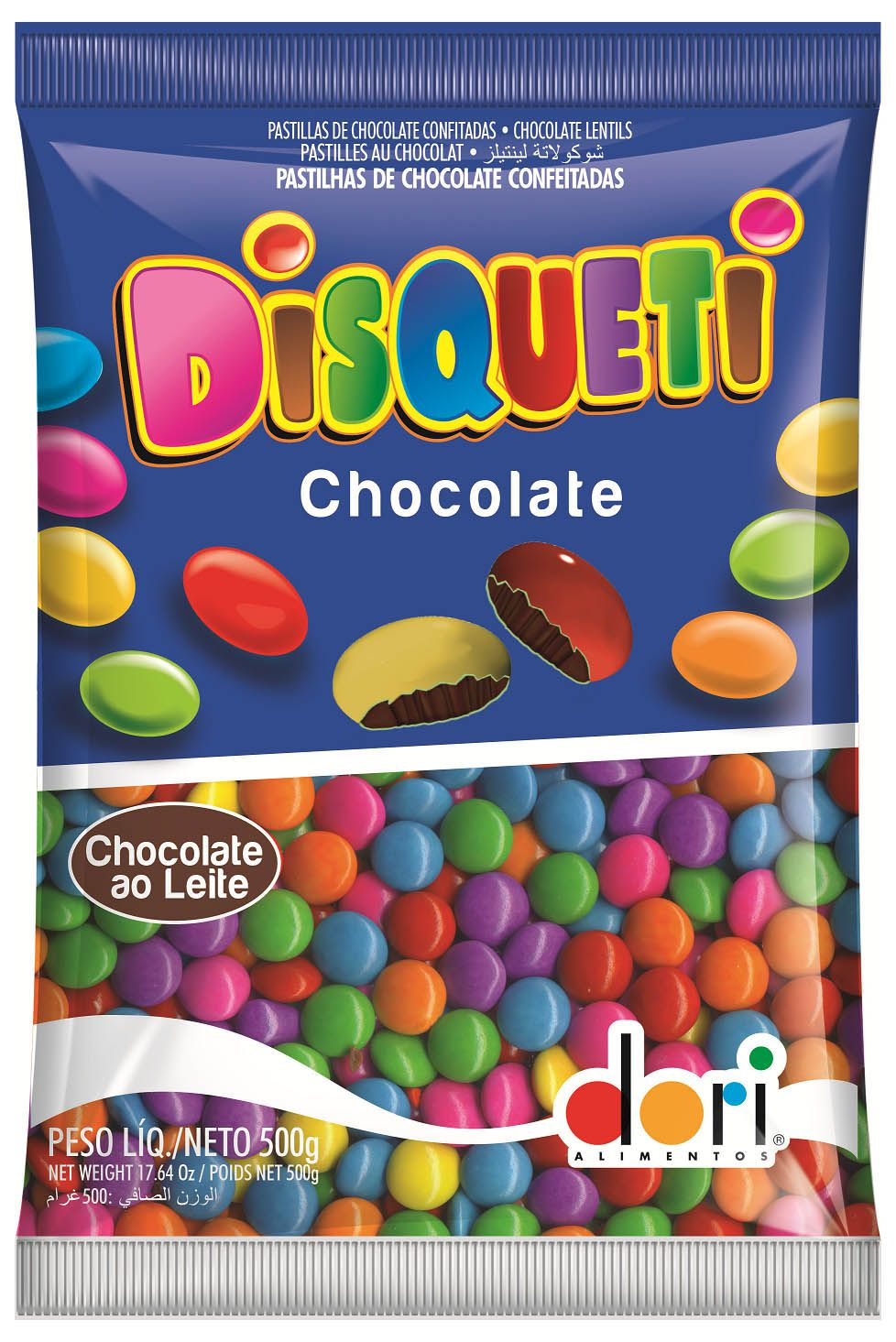 Confete Disqueti Chocolate ao Leite 500g