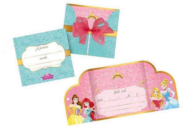 Convite Princesas Amigas - 8 unidades