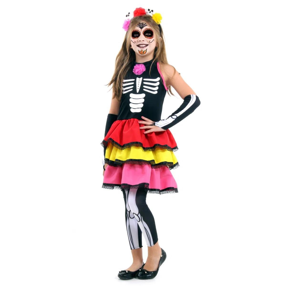 Fantasia Caveira Mexicana Colour - Infantil