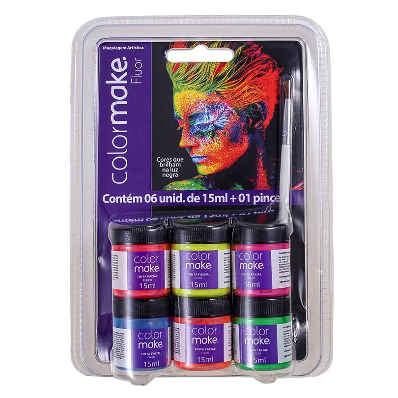 Kit Tinta Facial Neon 15ml com Pincel - 06 unidades
