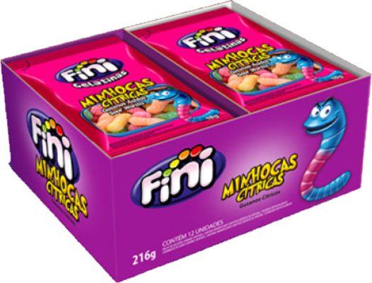 Bala de gelatina Mini Minhocas Cítricas Fini