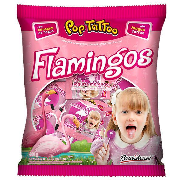 Pirulito Pop Tattoo Flamingos 400g