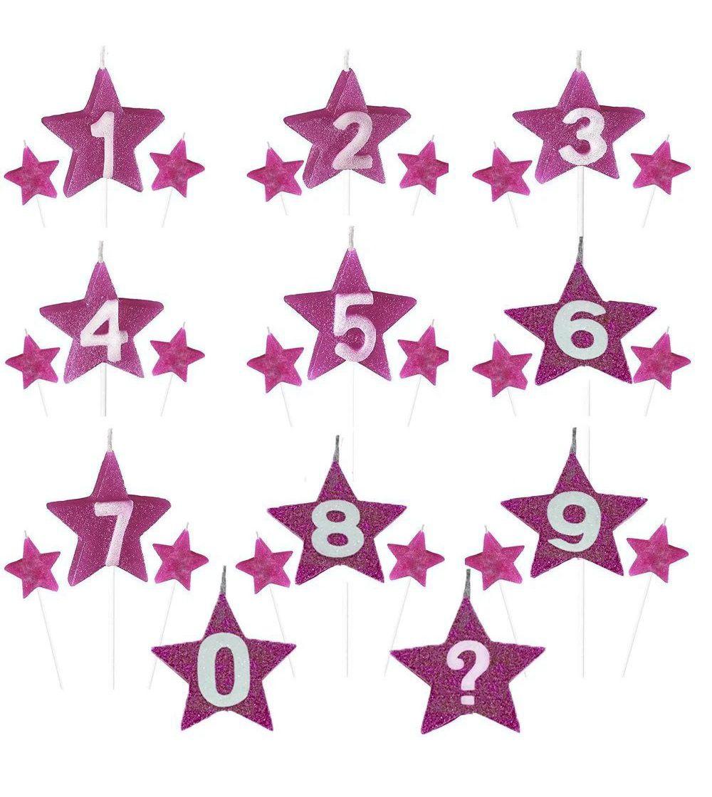Vela de Aniversário New Star - Rosa