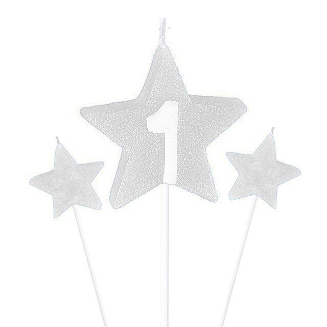 Vela de Aniversário New Star - Branca