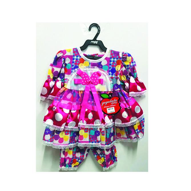 Vestido Junino Bebê - Rosa Laço poá