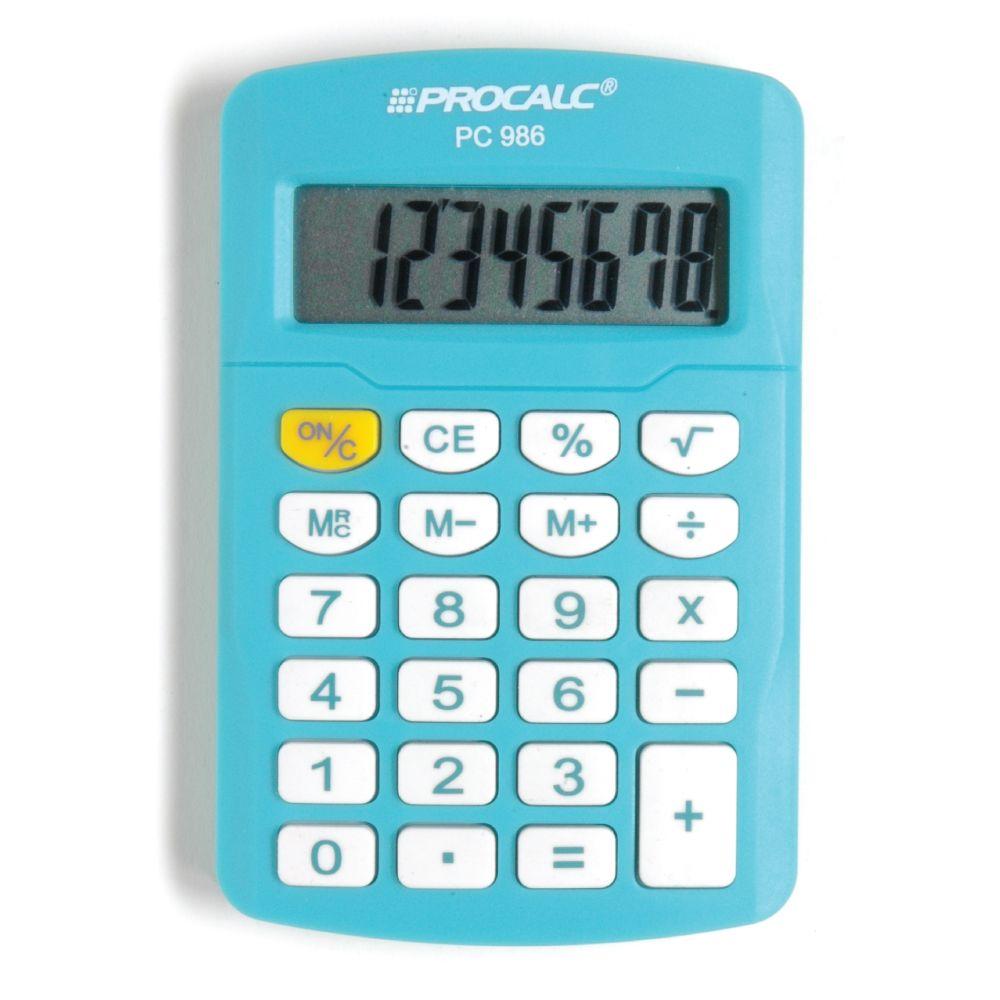 Calculadora Pessoal 8 Dígitos  PC986 - Azul