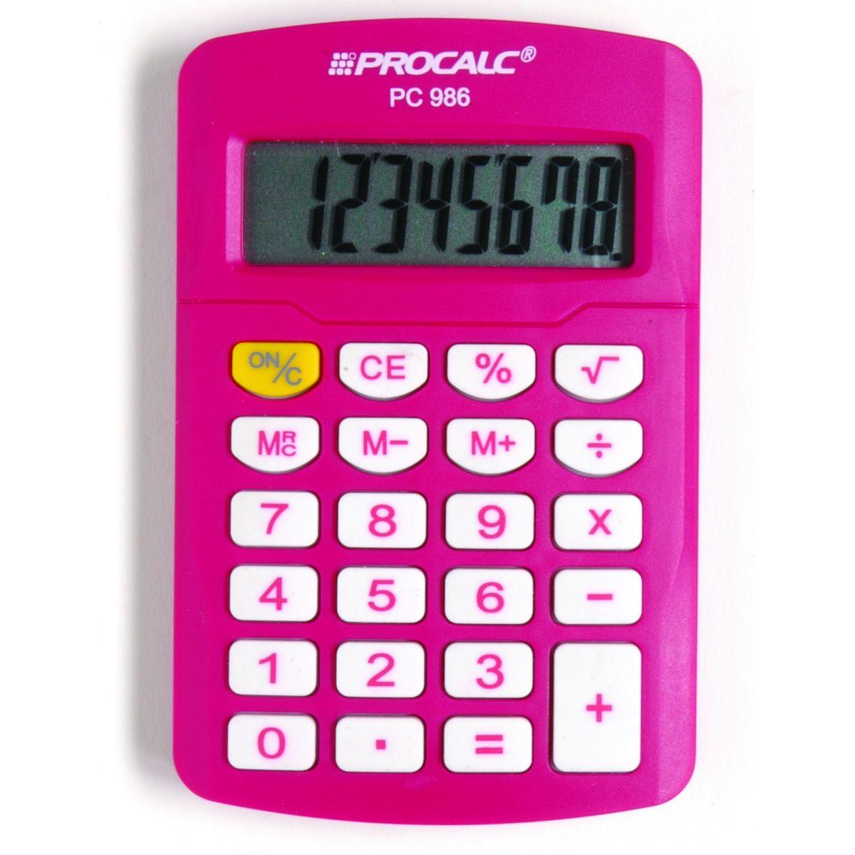 PROCALC - Calculadora Pessoal -  8 Dígitos -  PC986-P - PINK