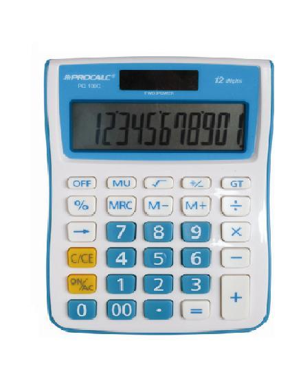 Calculadora de Mesa 12 Dígitos PC100-BL - Azul