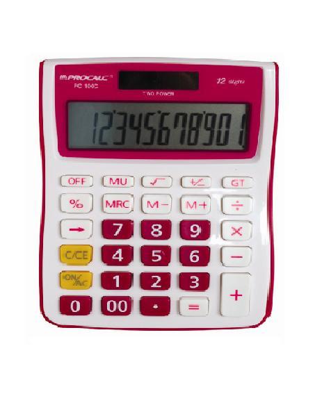PROCALC - Calculadora de Mesa 12 Dígitos - PC100-P  PINK