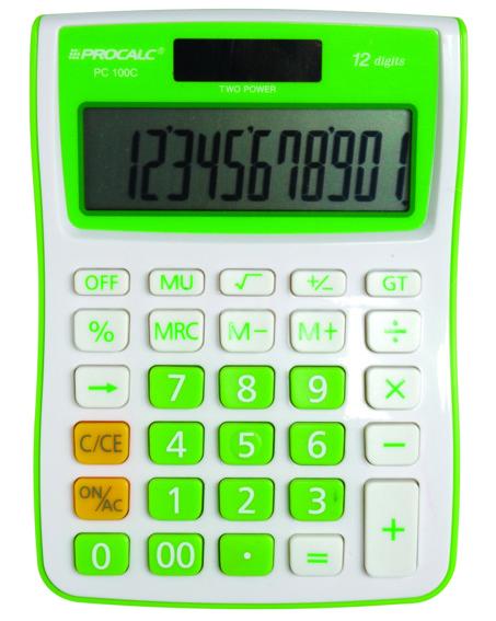 Calculadora de Mesa 12 Dígitos PC100 - GN - Verde