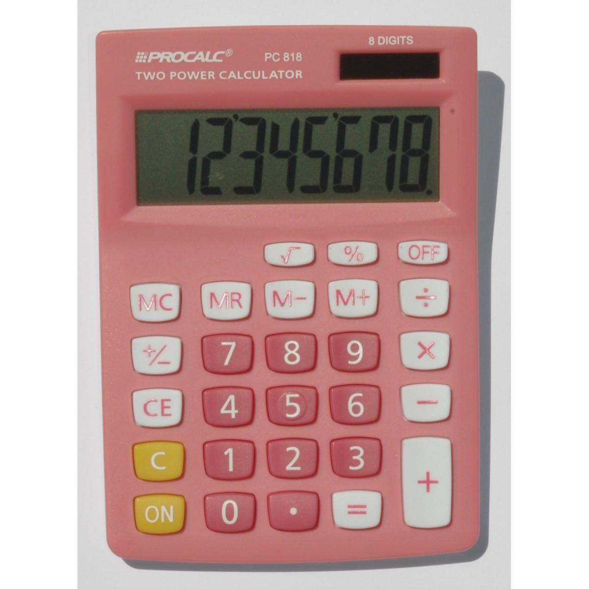 PROCALC - Calculadora de Mesa - 8 Dígitos  - PC818 - Pink