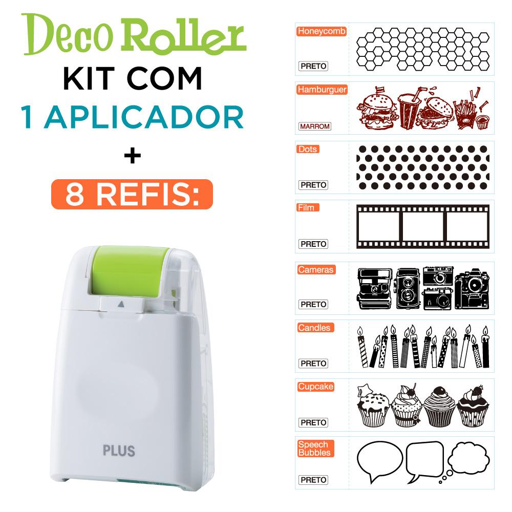 Kit Deco Roller 8 Refis + Aplicador