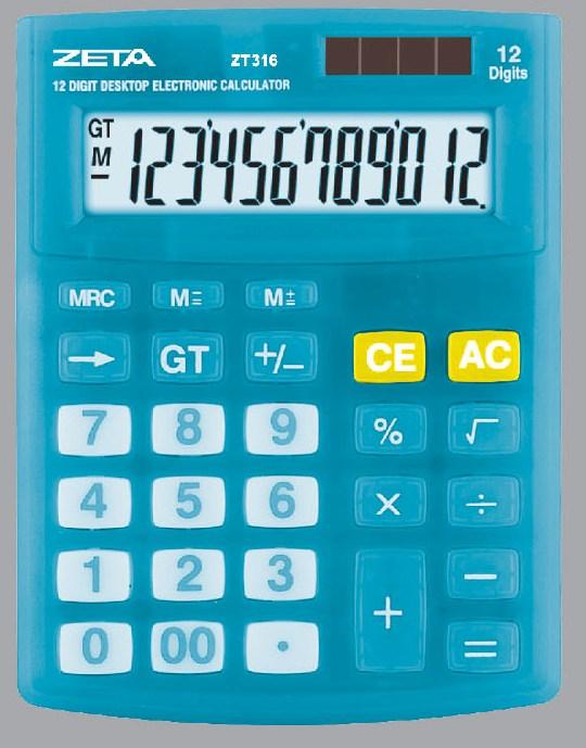 Calculadora de Mesa 12 Dígitos - ZT316 Azul