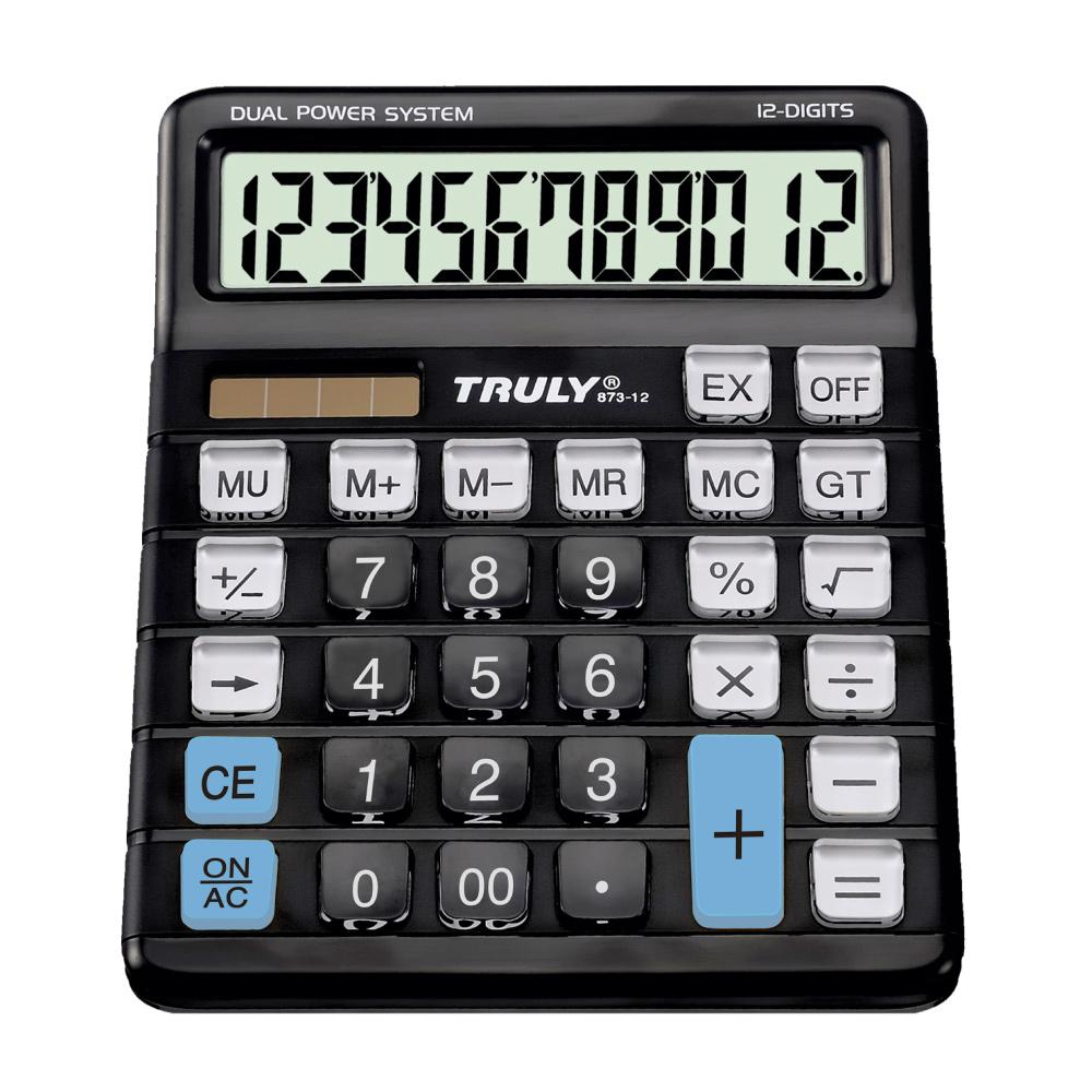 TRULY -  Calculadora de Mesa 12 Dígitos  873-12 -  Teclas Transparentes - Evitam  desgaste dos números