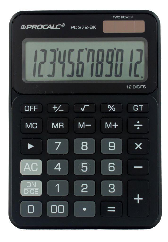 PROCALC -  Calculadora de Mesa - 12 Dígitos - PC 272-BK