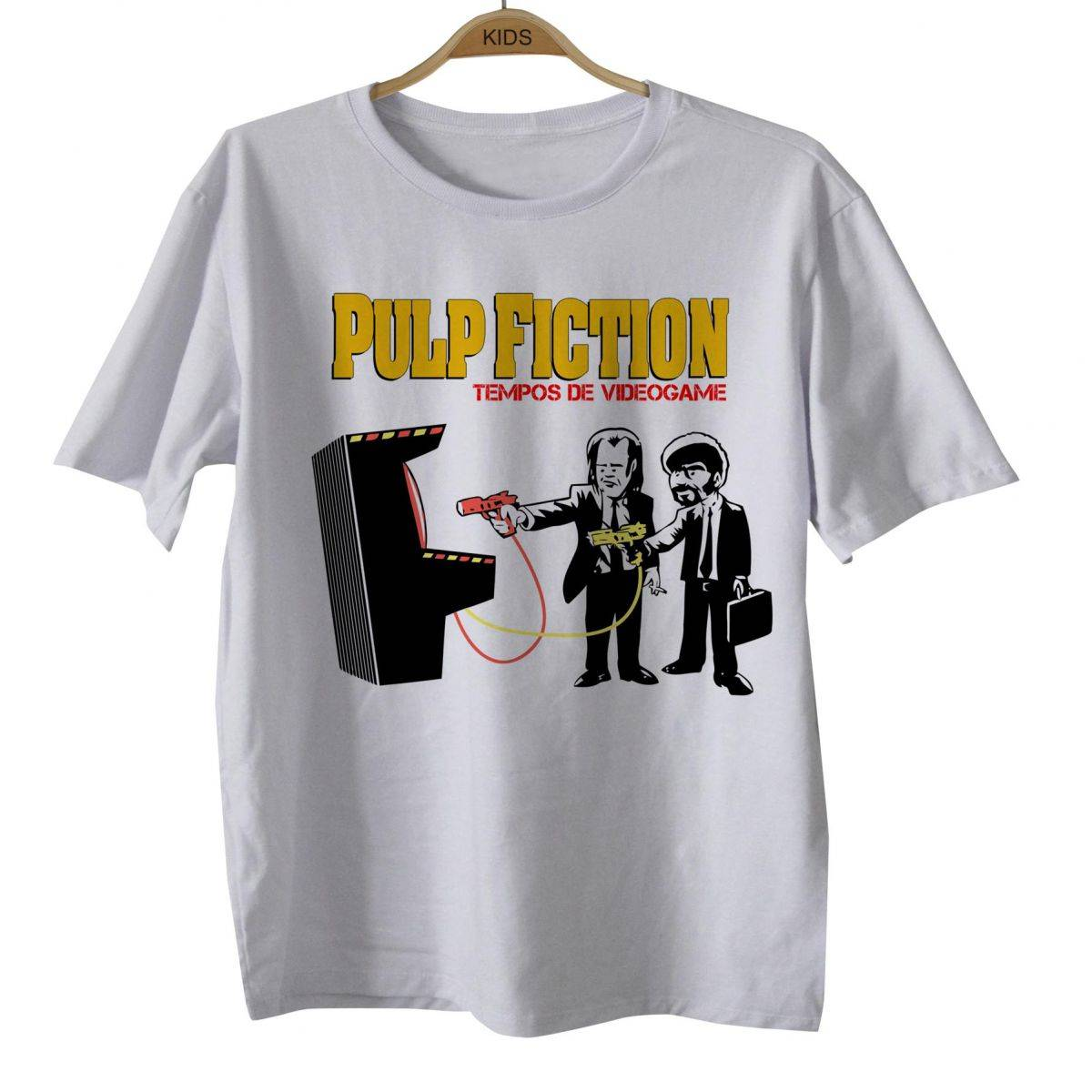 Camiseta Infantil Movies - Pulp Fiction Tempo de Game - Tarantino - White  - Baby Monster S/A