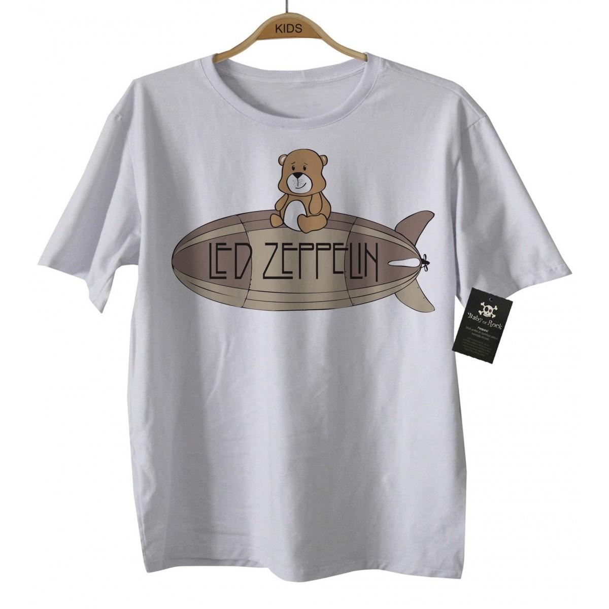 Camiseta  Rock   Led Zeppelin Cute - D - White  - Baby Monster - Body Bebe