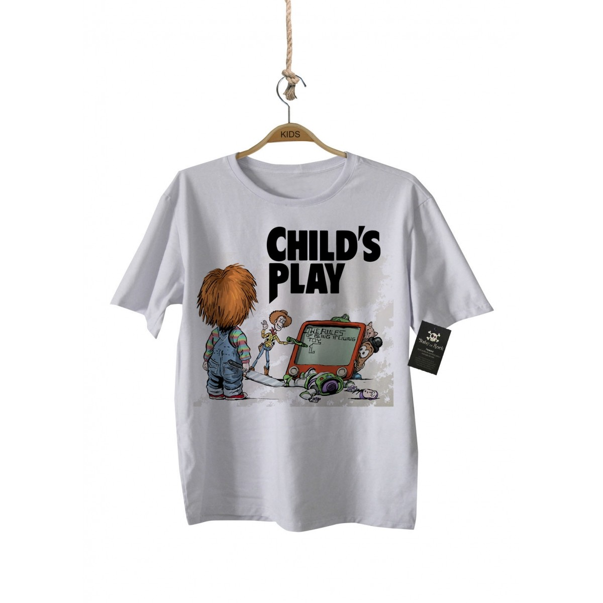 Camiseta Rock   Boneco Assassino - Toy Story - White  - Baby Monster - Body Bebe