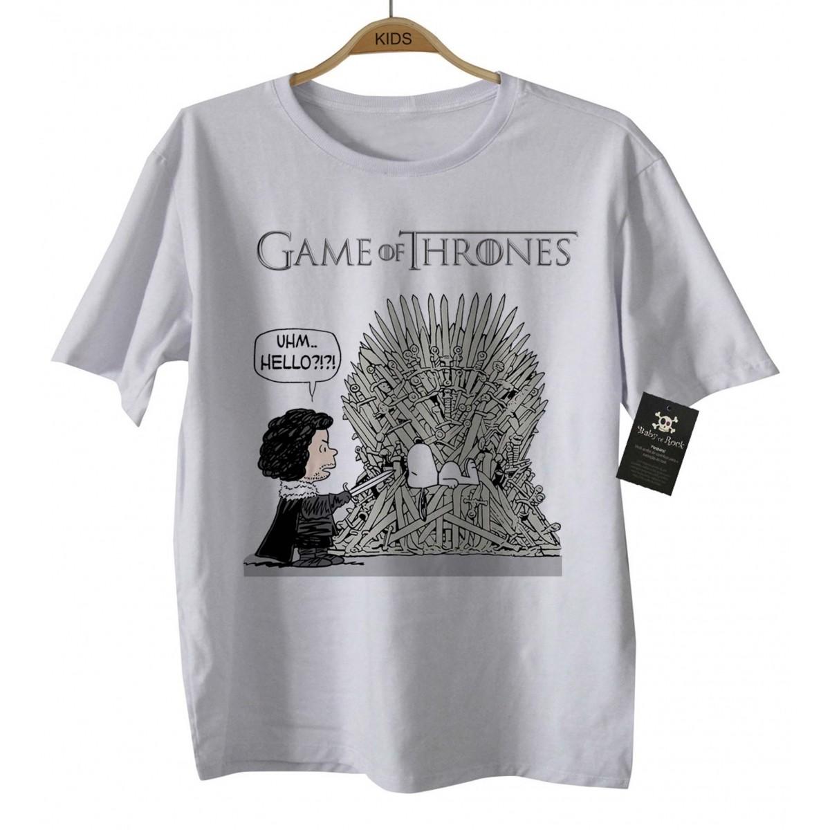 Camiseta de Filme - Infantil - Game of Thrones/Snoop - White  - Baby Monster - Body Bebe