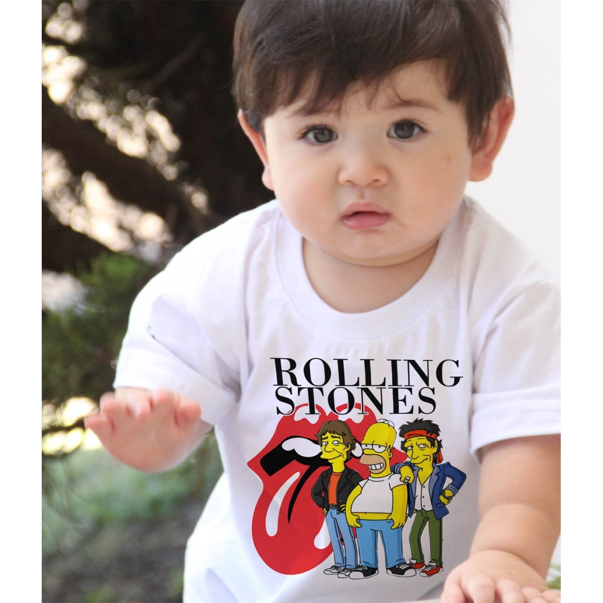 Camiseta Infantil  Rock Stones / Simpsons - White  - Baby Monster S/A