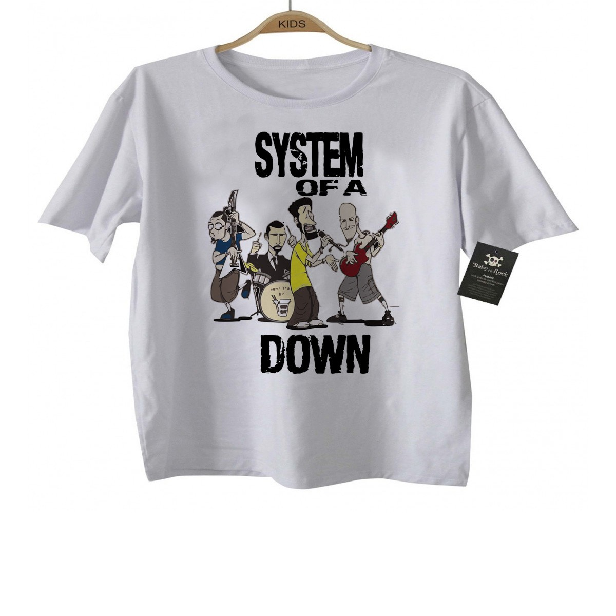 Camiseta Infantil Rock - System of a Down - White  - Baby Monster S/A