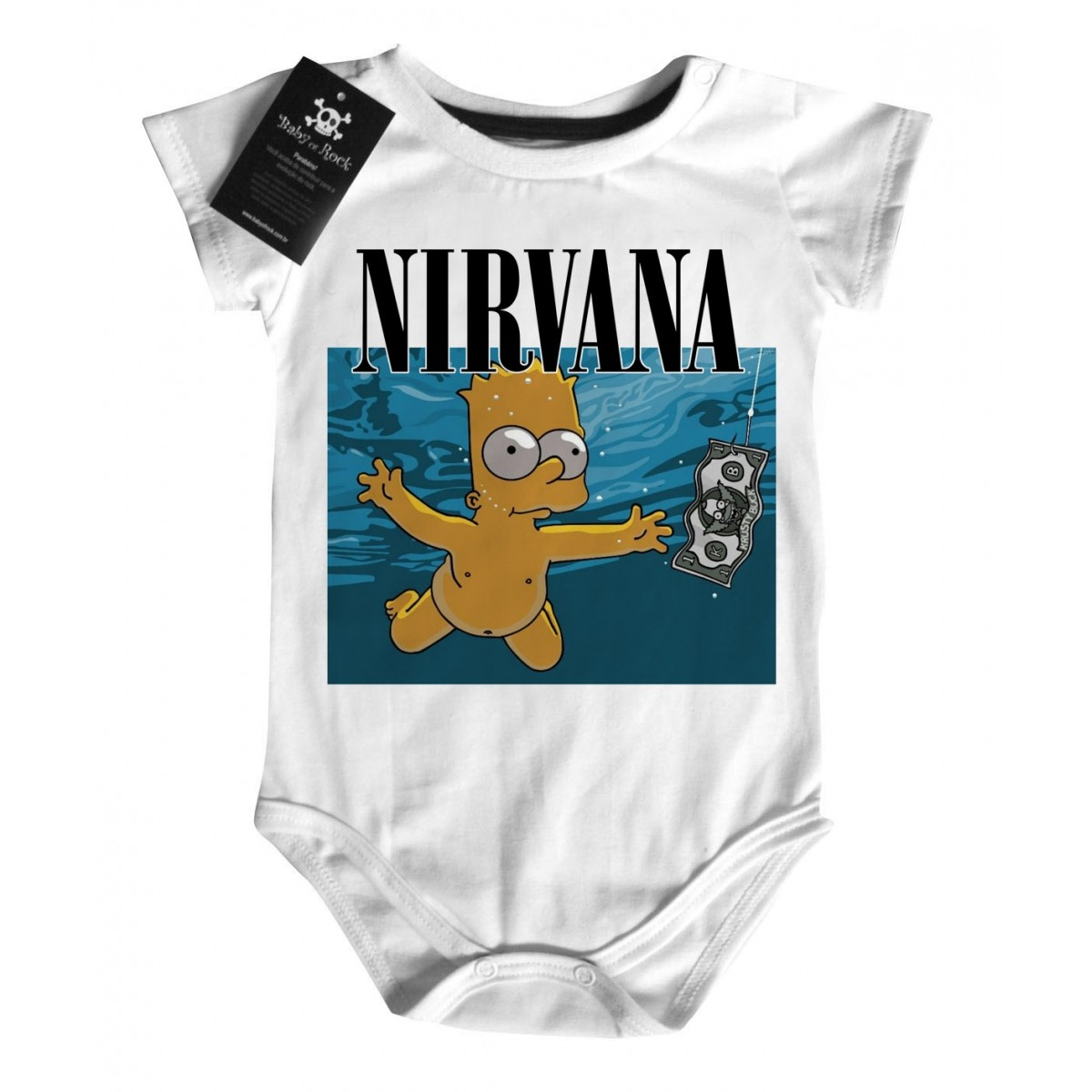 Body Bebe Rock Nirvana -  Bart Nevermind D - White  - Baby Monster - Body Bebe