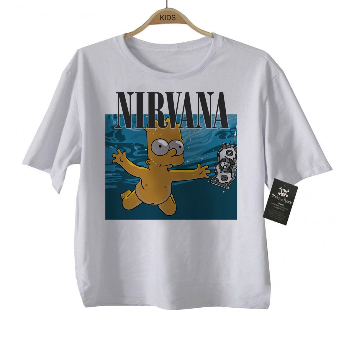 Camiseta de Rock Kids Nirvana - Bart Nevermind D - White - BABY MONSTER ... 324383c62ef