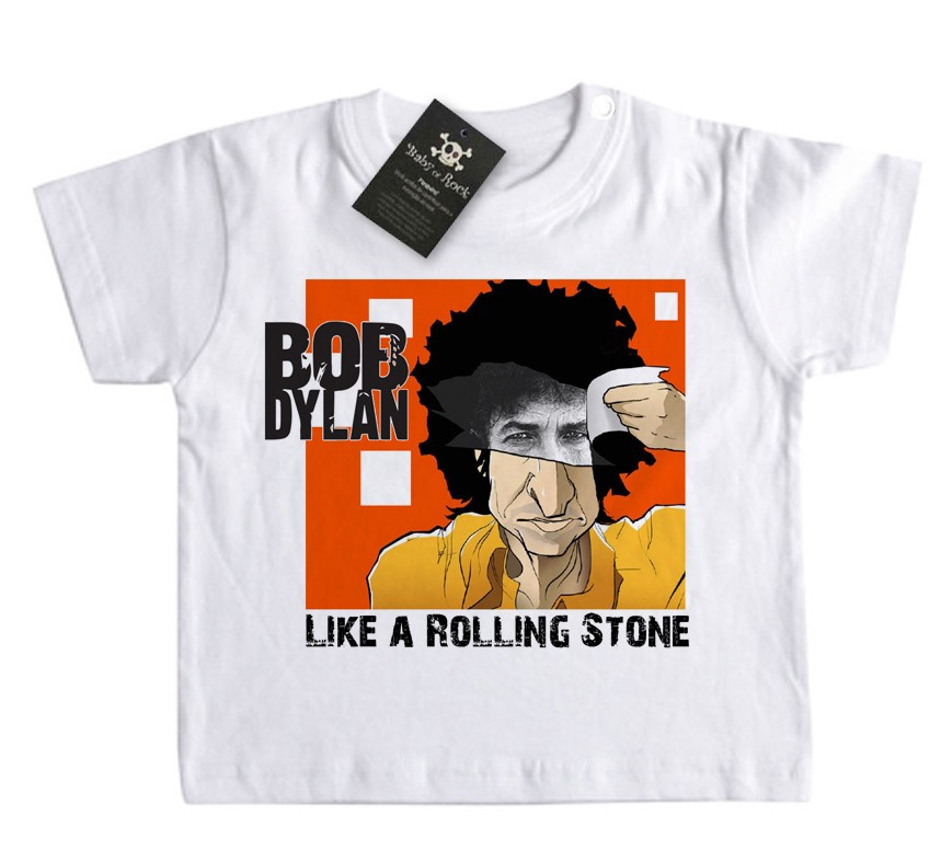 Camiseta Infantil Rock n Roll - Dylan Like a Rolling Stone - White  - Baby Monster S/A